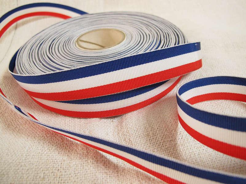 ヴィンテージフランス三色旗グログランリボン 2×100cm 1960−70年代 gs-787