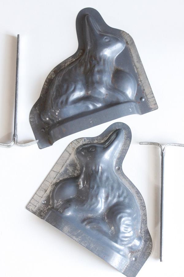 アンティークイースターうさぎのブリキチョコレートモールド1910-30年代頃 gk-474