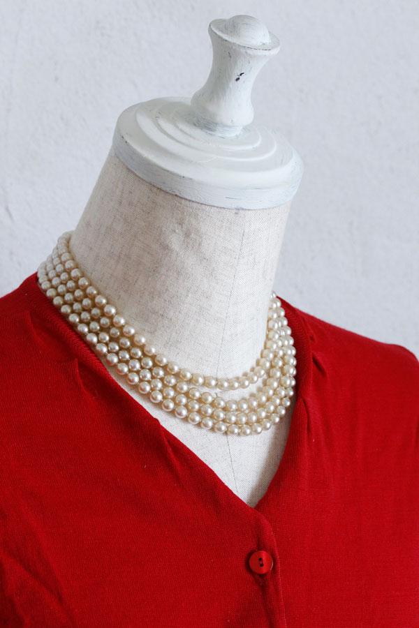 フランスのヴィンテージガラスパールの4連ネックレス1950-60年代頃 ga-703