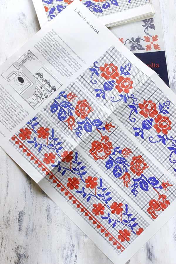 ハンガリー刺繍図案集Beregi keresztszemes mintak 28枚gh-169