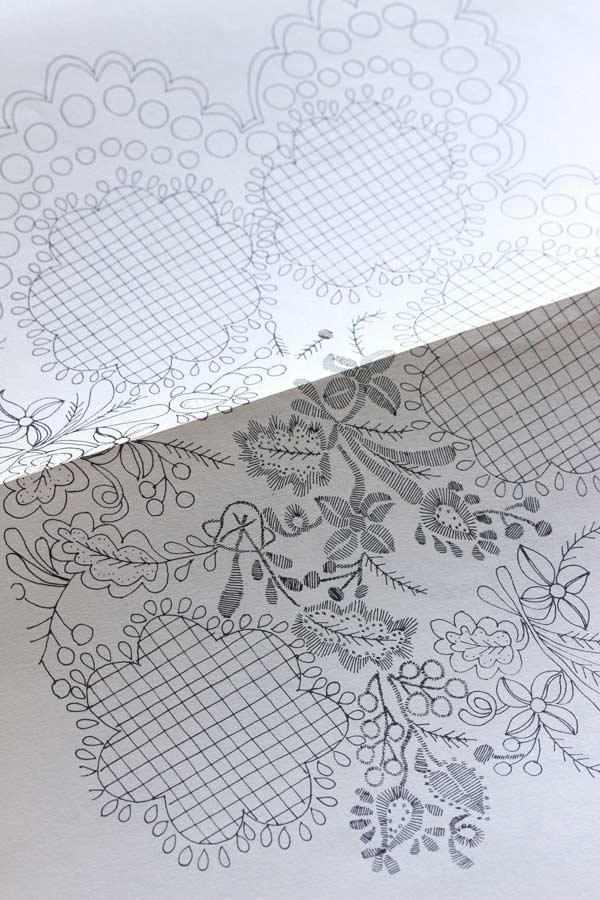 ハンガリーの刺繍図案集SZIGETVAR-VIDEKI FEHERHIMZESEK gh-174