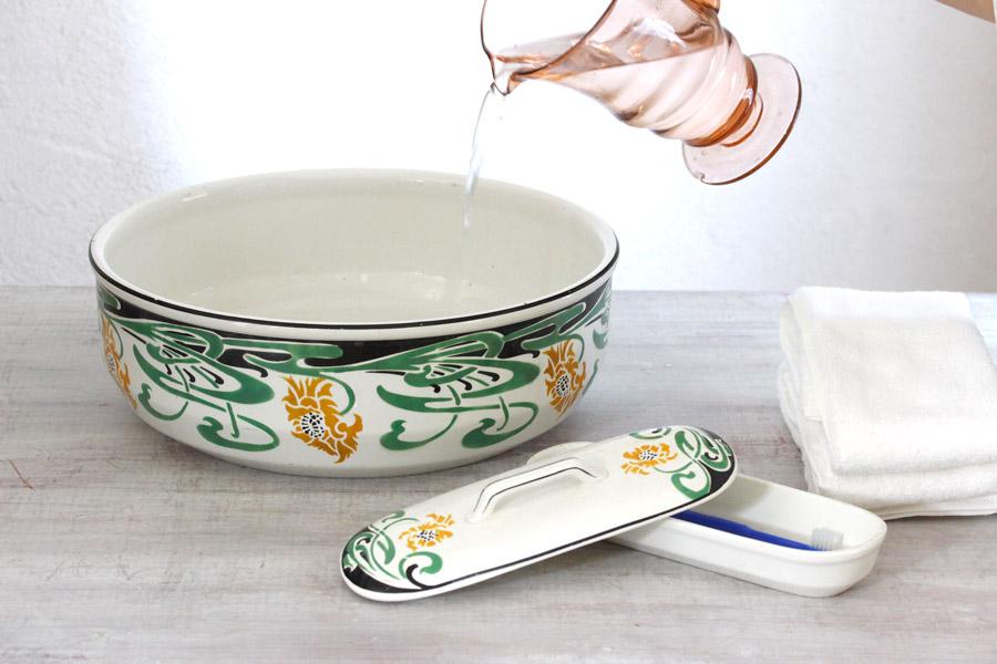 アンティークステンシル手洗い鉢&歯ブラシ入れセット 1930年代頃 gc-711
