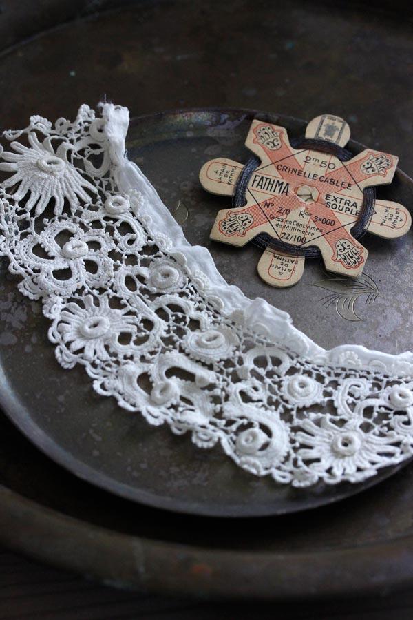 アンティークアイリッシュクロッシュレースパーツとワイヤ—糸巻きセット gla-0947