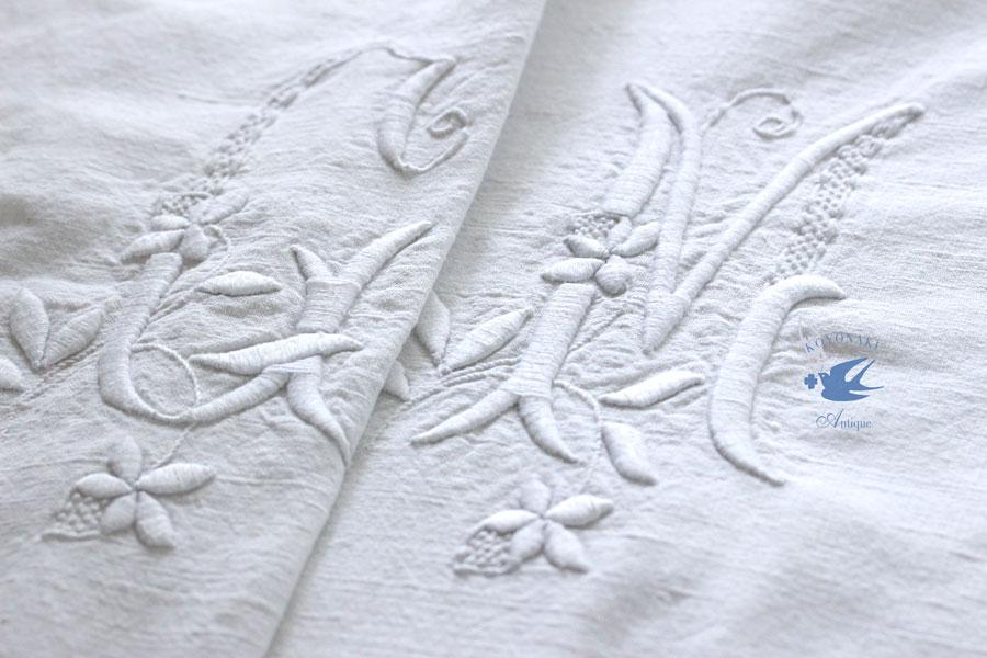アンティークモノグラム刺繍入りフレンチリネンシーツ280×195cm gli-0273