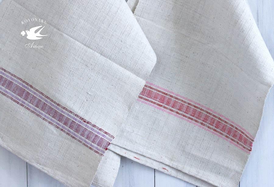 アンティークルーマニア手織りリネンのティータオル 39×124cm gli-0274