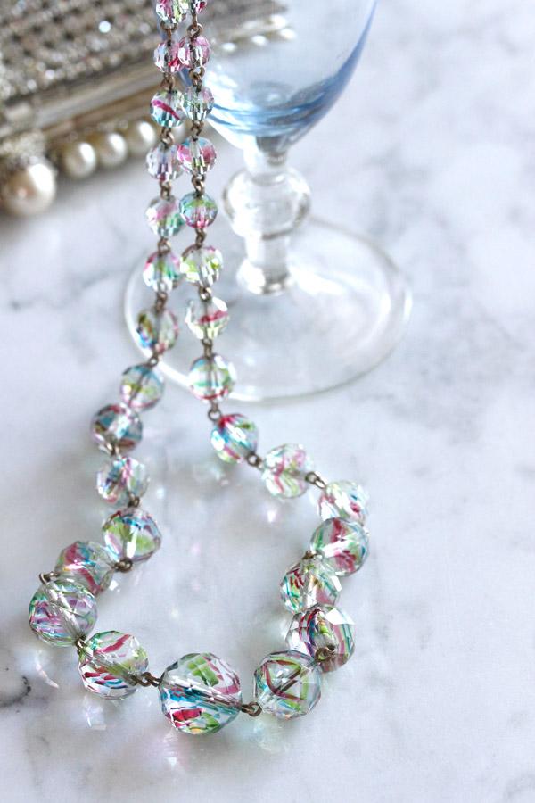 アンティークアイリスガラスのネックレス 1920-30年代 ga-721