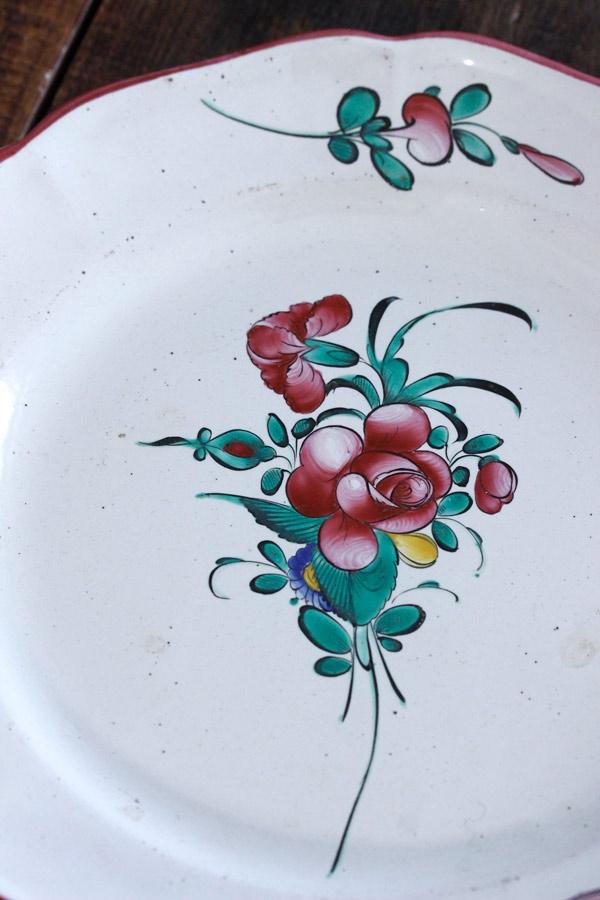 フランスストラウスブール手描き薔薇のリムプレート W22.5cm gc-725
