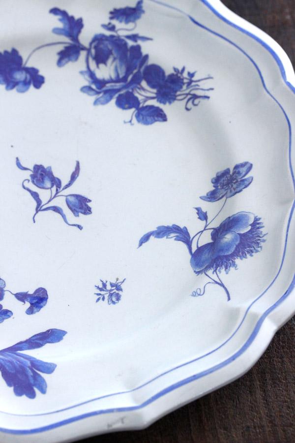 フランスGIENのブルーフラワー花リムプレート23cm gc-728