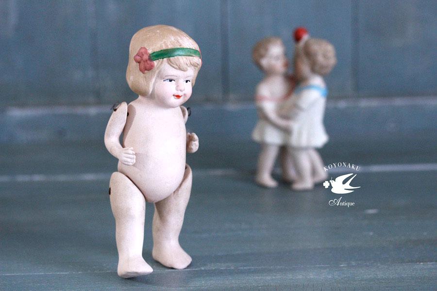 アンティークビスクドール カチューシャをした女の子 14.2cm gt-740