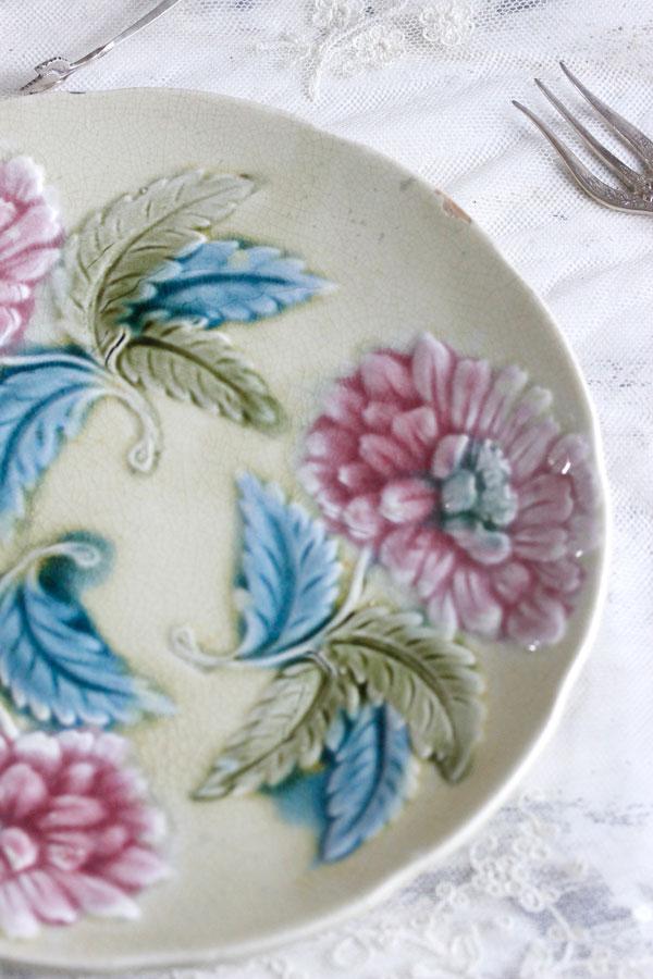 アンティークバルボティーヌのお花のプレート21.5cm gc-738