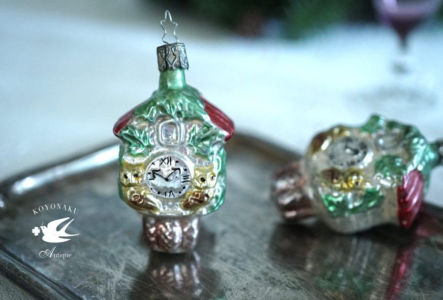 インゲガラスの手吹きクリスマスオーナメント掛け時計 8.5cm gx-321