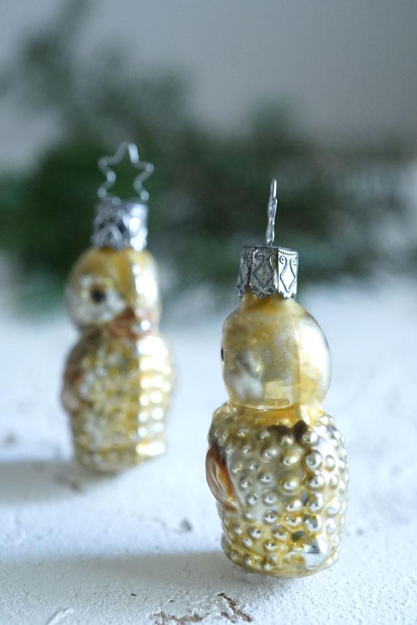 インゲガラスの手吹きクリスマスオーナメント ひよこ 6.5cm gx-324
