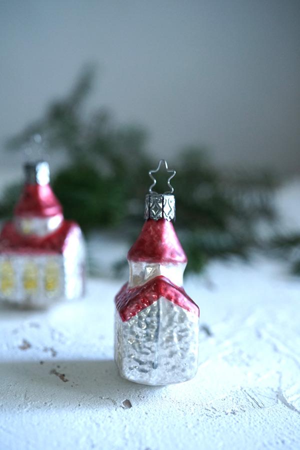 インゲガラスの手吹きクリスマスオーナメントハウスH7.2×W4.3×D3cm gx-325