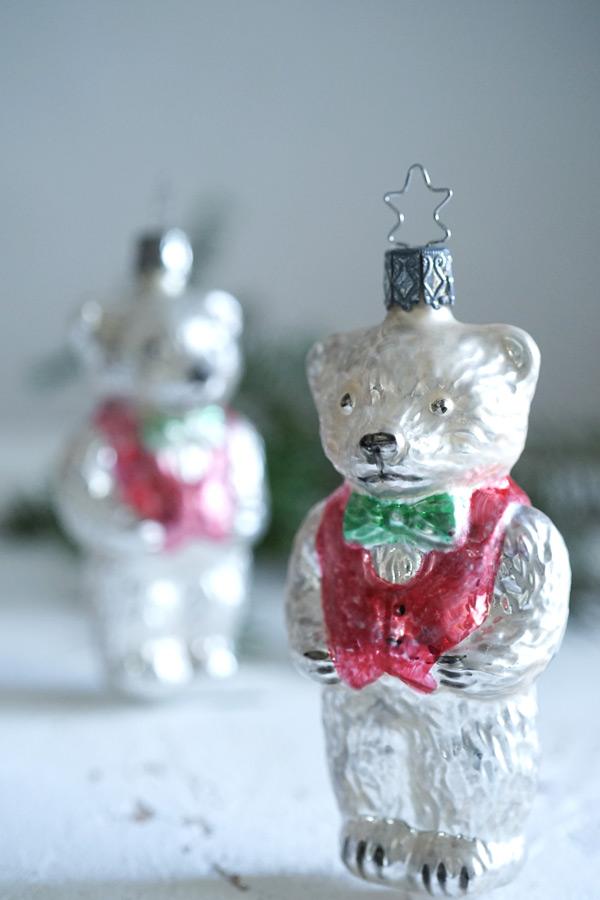 インゲガラスの手吹きクリスマスオーナメントテディベア11.3cm gx-326