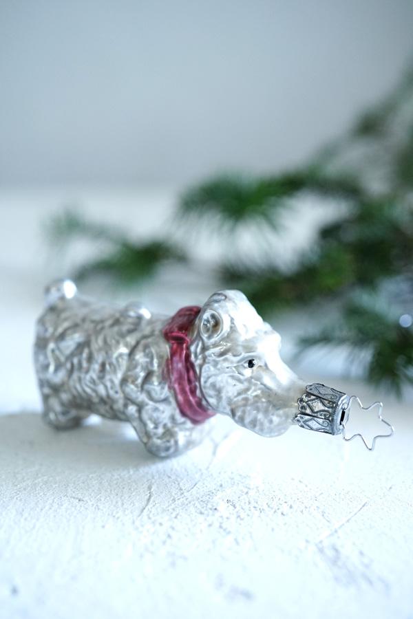 インゲガラスの手吹きクリスマスオーナメントいぬ9.8cm gx-327