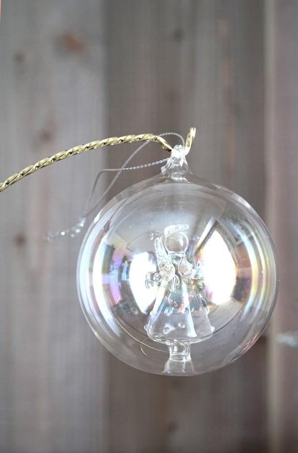 リバティのクリスマスガラスオーナメントエンジェルW8cm gx-339