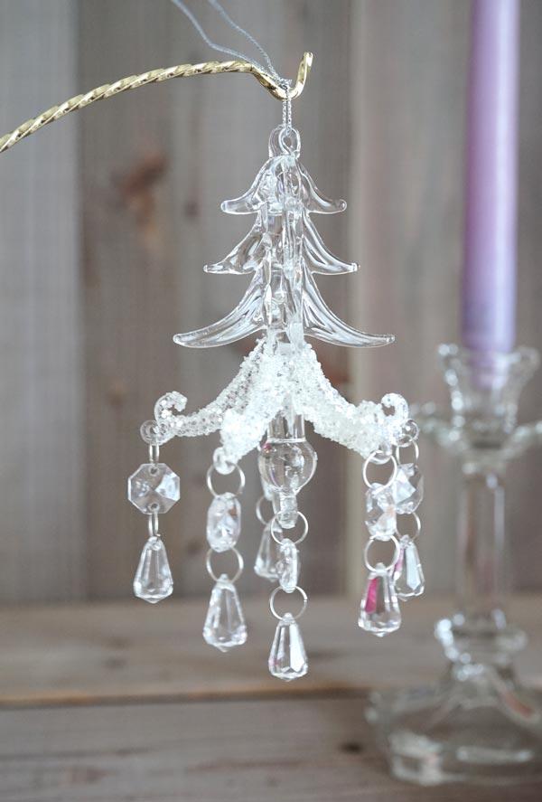 バティのクリスマスガラスオーナメント モミの木のシャンデリアH14.5cm gx-340
