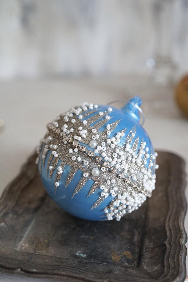 リバティのクリスマスガラスオーナメント ビーズ入りミドルリングW8.5×9.5cm gx-341