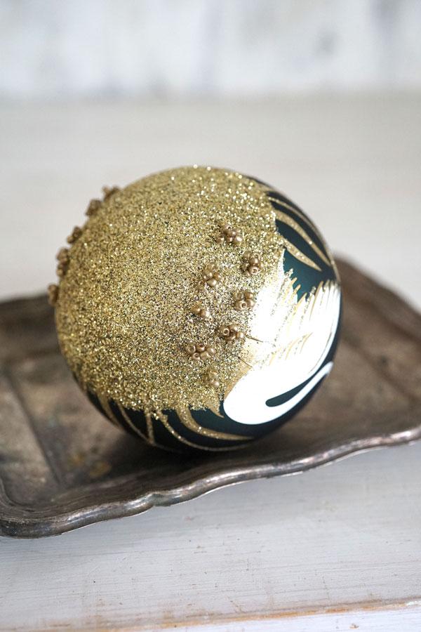 リバティのクリスマスガラスオーナメント ゴールドスワンW8cm gx-342