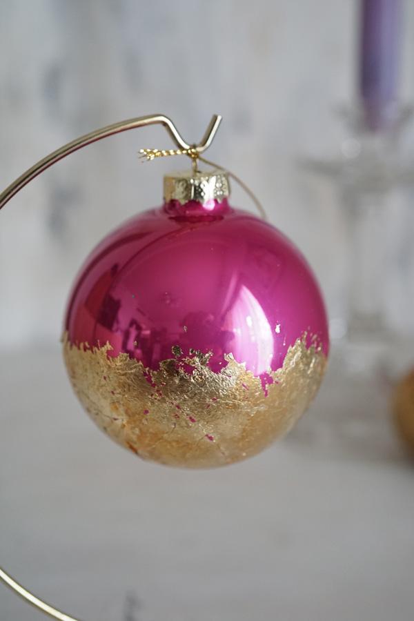 リバティのクリスマスガラスオーナメントボールゴールドフューシャピンクW8cm gx-343