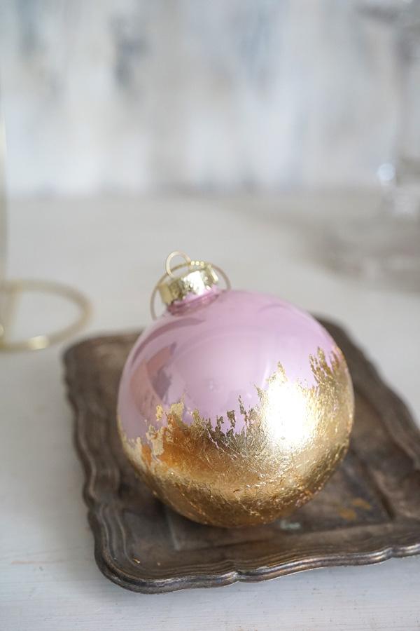 リバティのクリスマスガラスオーナメントボール ゴールドラベンダーピンクW8cm gx-344