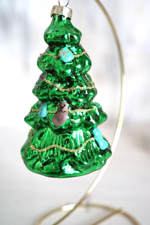 リバティのクリスマスガラスオーナメントツリーH10.3cm gx-346