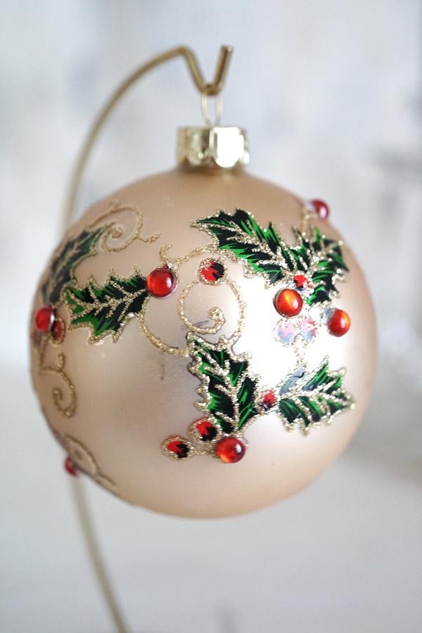リバティのクリスマスガラスオーナメントDiamante Holly Glass W8cm gx-349