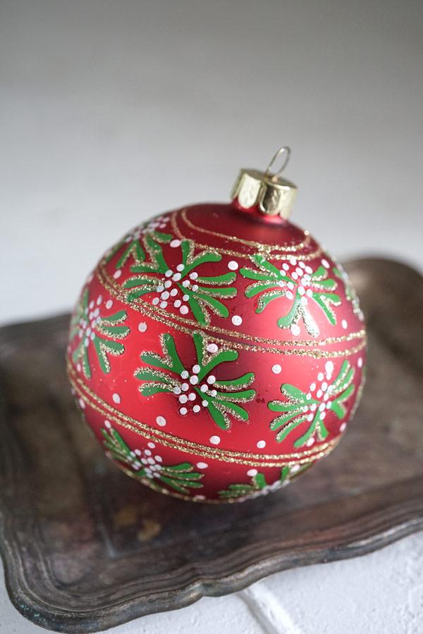 リバティのクリスマスガラスオーナメントヤドリギ W8cm gx-355