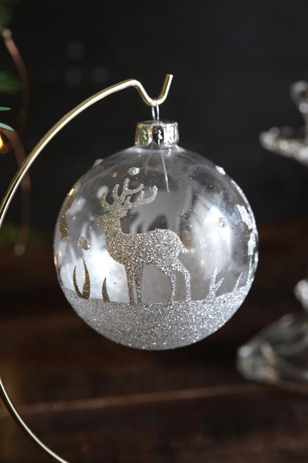 リバティのクリスマスガラスオーナメンきらきらなシカ W8cm gx-360