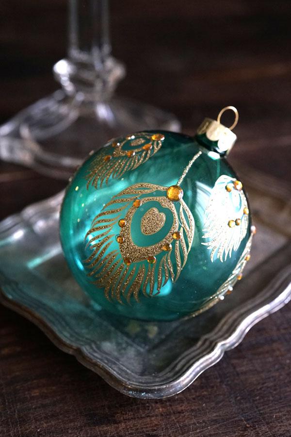 リバティのクリスマスガラスオーナメンきらきらピーコック W8cm gx-361