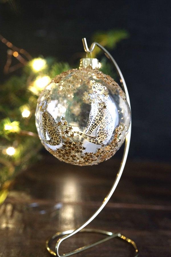 リバティのクリスマスガラスオーナメンきらきらヒョウ W8cm gx-363