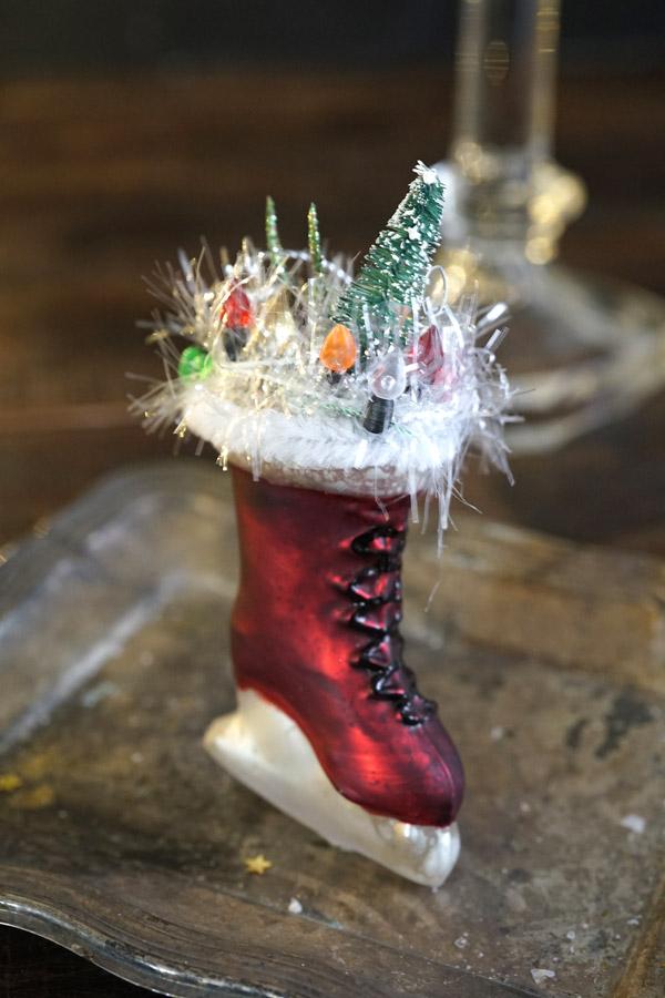 リバティのクリスマスガラスオーナメントスケートブーツにクリスマス H10.8cm gx-364