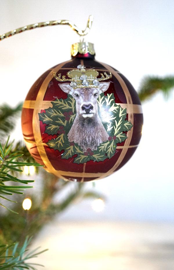 リバティのクリスマスガラスオーナメントチェックに王冠のシカ W8cm gx-368