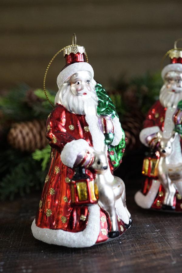 ドイツのクリスマスオーナメントバンビとサンタクロースH13cm gx-372