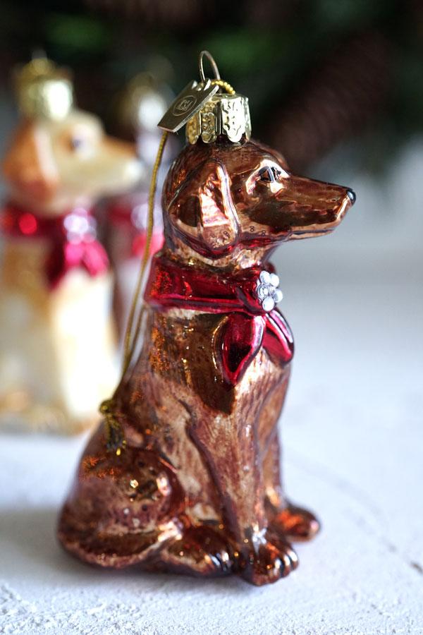 リバティのクリスマスガラスオーナメント犬gx-378