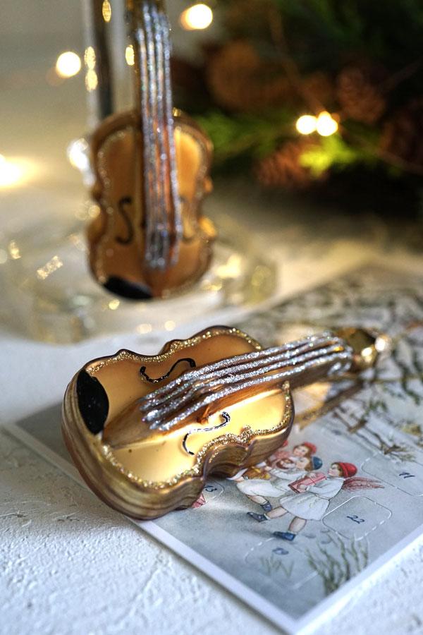 ドイツのクリスマスガラスオーナメントヴァイオリン H11.3cm gx-383