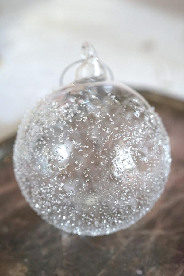 リバティガラスオーナメント氷の結晶のクリアボール W8cm gx-406