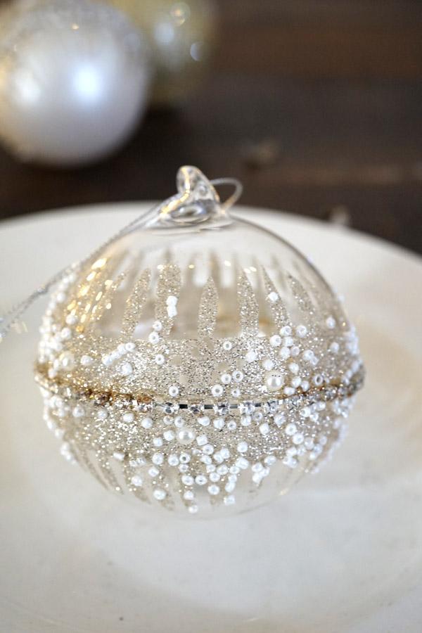 リバティのクリスマスガラスオーナメントクリア ビーズ入りミドルリングW8.5cm gx411