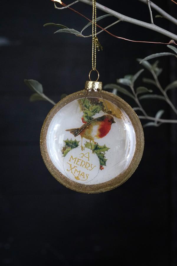 リバティのクリスマスガラスオーナメントロビンフェロイドバブル W8cm gx-414