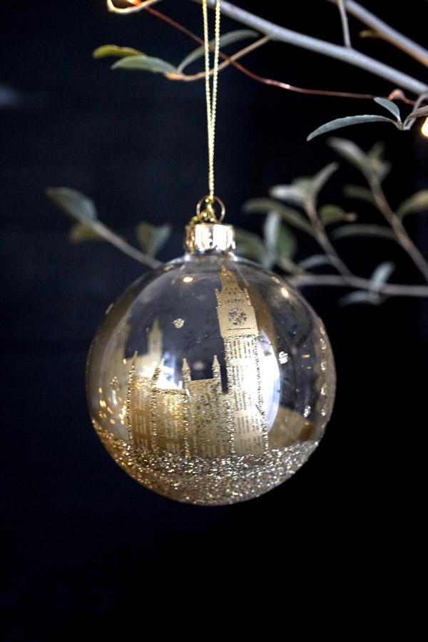 リバティのクリスマスガラスオーナメントクリアボールにゴールドのロンドンW8cm gx-415