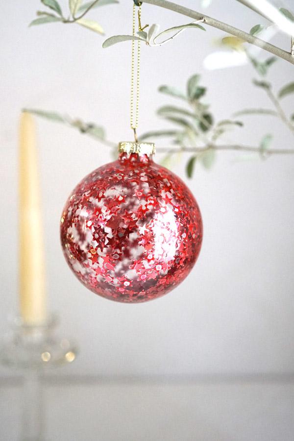 リバティのクリスマスガラスオーナメントクリアボールにレッドスタースパンコールW8cm gx-418