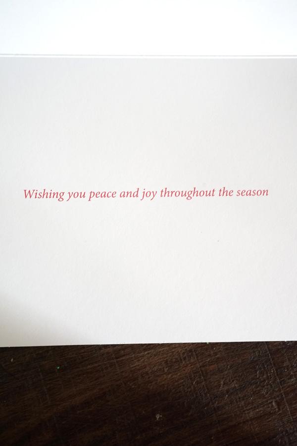 リバティの金箔入りクリスマスカード鳩と柊 12.5×17.8cm gx-419