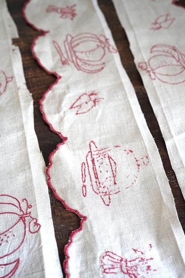 アンティーク手刺繍麻の棚飾り350×14cm ge-749