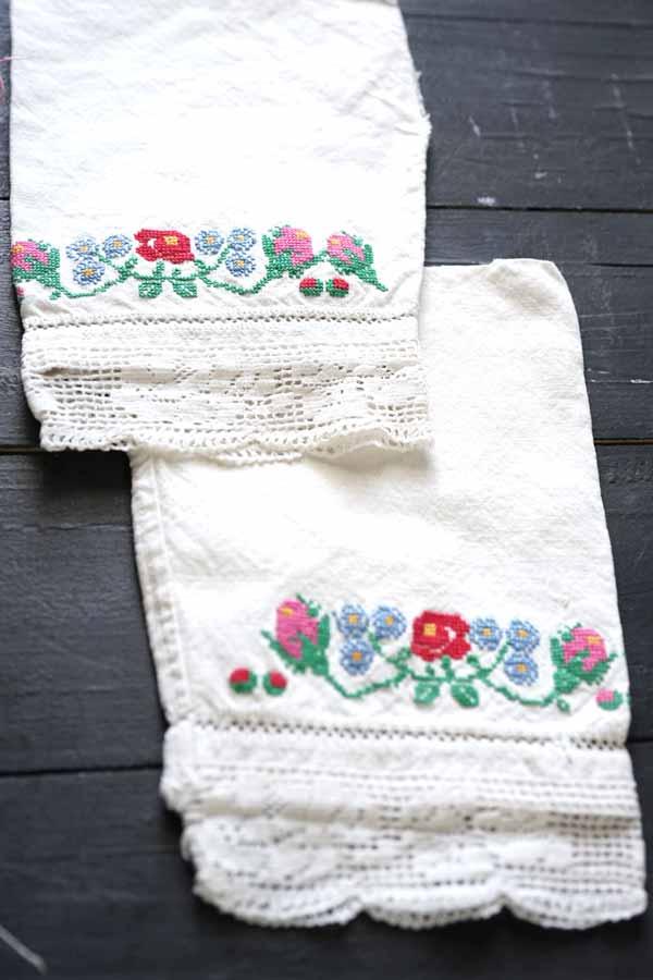 アンティーク刺繍サンプラーとハンガリークロスステッチの袖セット gf-06