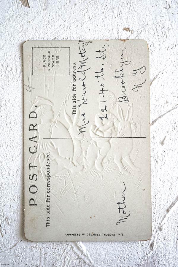 アンティークポストカード イースター うさぎとエッグハンティング gh-182