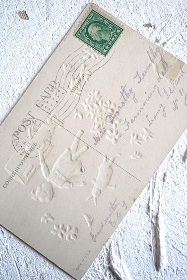 アンティークポストカード イースター女の子と うさぎさん gh-184