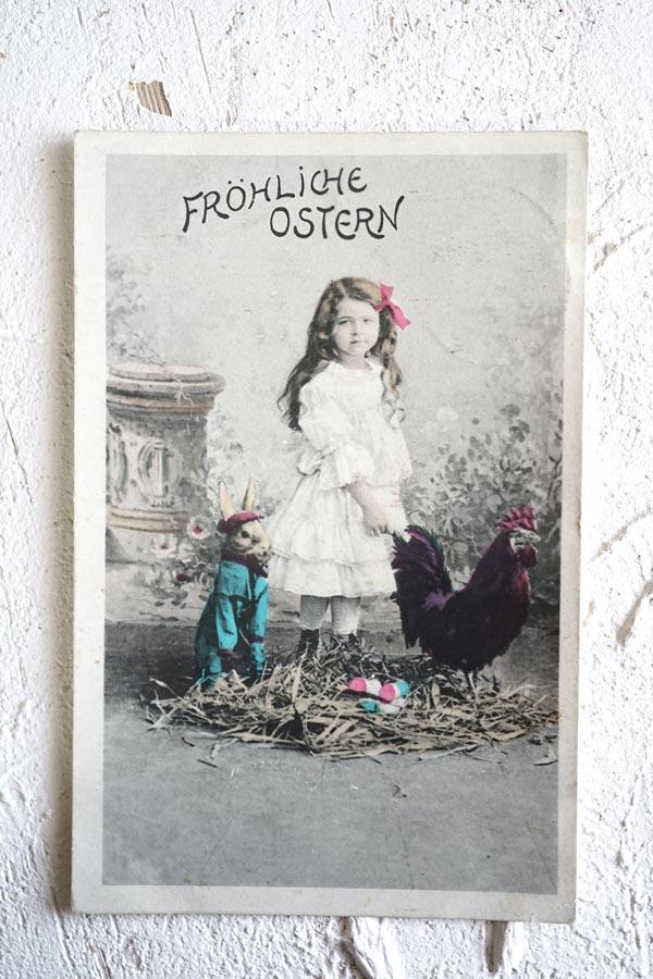 アンティークポストカード イースター女の子と うさぎとニワトリ gh-187