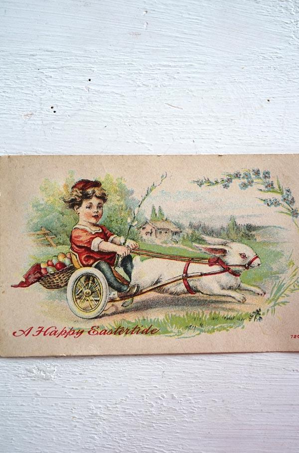 アンティークポストカードエッグを運ぶうさぎと子供 gh-196
