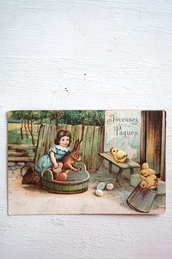 アンティークポストカード水浴びするうさぎと子供とひよこさん gh-197