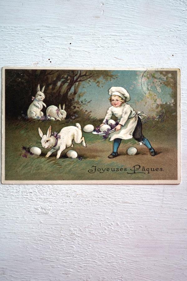 アンティークポストカードうさぎと子供のコックさん gh-198